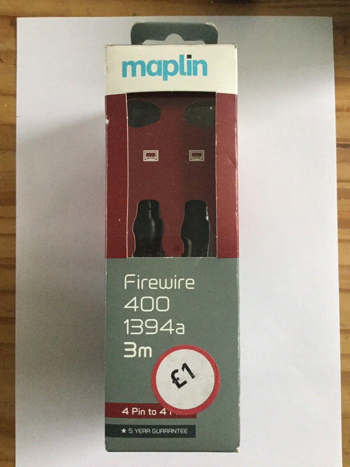 Certified Maplin Firewire 400 1394a 4 Pin To 4 Pin 3 Meters