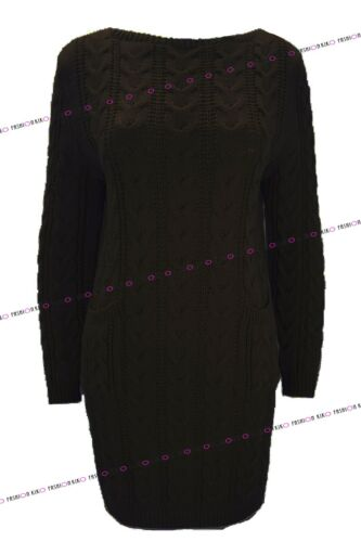 Womens Ladies Cable Knitted Pocket Long Sleeve Short Mini Party Jumper Dress
