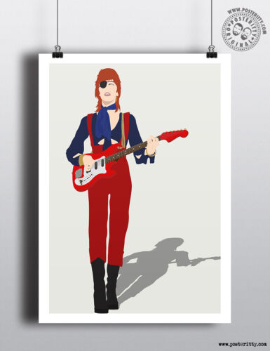 DAVID BOWIE Ziggy Stardust Minimalist Poster Minimal Space Pirate Print Art
