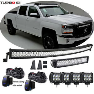 dot 52 inch curved led light bar combo grill windshield bumper light bar  4inch offroad led fog light 1x rocker switch 1x wiring harness for truck