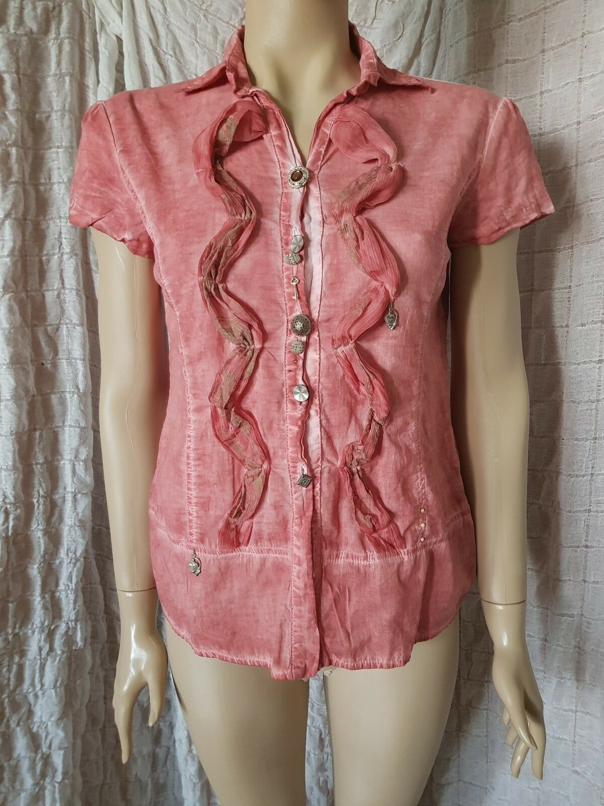 Elisa Cavaletti  short sleeve washed coral shirt with amazing details Größe M