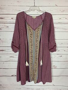 Kori America Boutique Women's L Large Purple Boho 3/4 Sleeves Spring Tunic Top