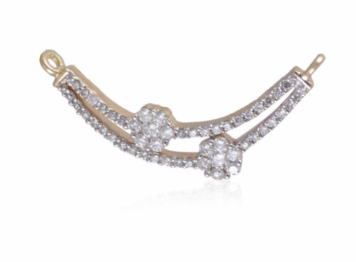 Pave 0.35 Cts Natural Diamonds Choker Mangalsutra Necklace In Certified 18K Gold