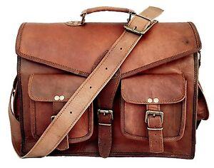 New Vintage Men Genuine Leather Satchel Shoulder Laptop Bag Messenger Briefcase