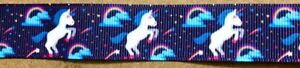UNICORN-BLUE-Animal-7-8-034-Grosgrain-Ribbon-By-the-yard-for-Scrapbooking-Hair-Bow