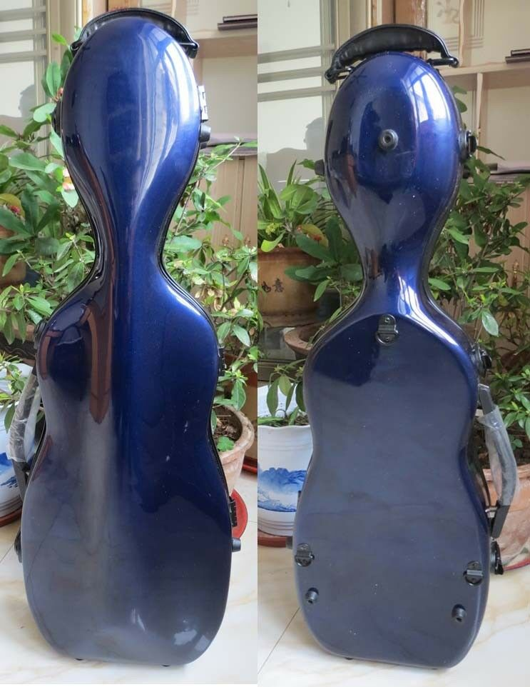 NEW beautiful strong glass fiber bluee color 4 4 violin case