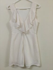 fb88aed8c25 Bloomingdales AQUA Womens Juniors Size M 7   9 Ivory White Lace ...