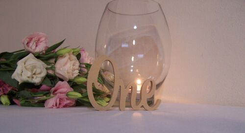 Set of 10 Freestanding 12mm wooden table numbers raw  wedding birthday gift