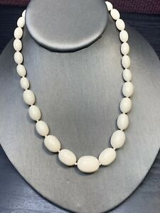 """Vintage Bright White necklace large Oval Shape Lucite beads 16"""" Long"""