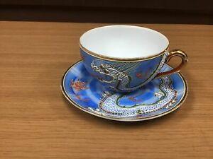 Y0890-CUP-SAUCER-coffee-Occupied-Japan-Dragon-Japanese-antique-vintage