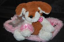 """Pink Barbie Puppy  Dog Blanket Motion Dog Sleep Mask 8"""" Plush Stuffed Sleep Mask"""