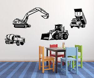 Wandtattoo-Baufahrzeugeset-Bagge-Kipper-Betonmischer-Radlader-kleine-Baumeister