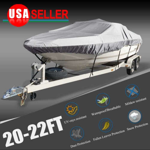 14-16//17-19//20-22ft PEVA Waterproof Trailerable Boat Cover V-hull Fishing Ski