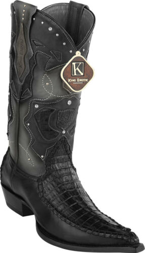 Men/'s King Exotic Genuine Caiman Tail 3x Pointy Toe Western Boots Handmade