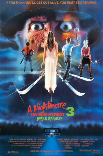 "A NIGHTMARE ON ELM STREET 3 DREAM WARRIORS Silk Movie Poster Horror 24/""x36/"""