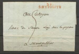 1793-Lettre-Marque-Lineaire-29-S-Hypolite-rouge-GARD-29-Indice-11-X2295