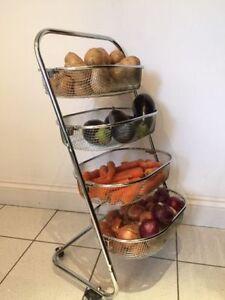 Image Is Loading Mia 4 Tier Chrome Fruit Vegetable Baskets Kitchen