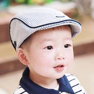 6364cc9a Cute Baby Kids Infant Boy Girl Stripe Beret Cap Peaked Baseball Hat ...