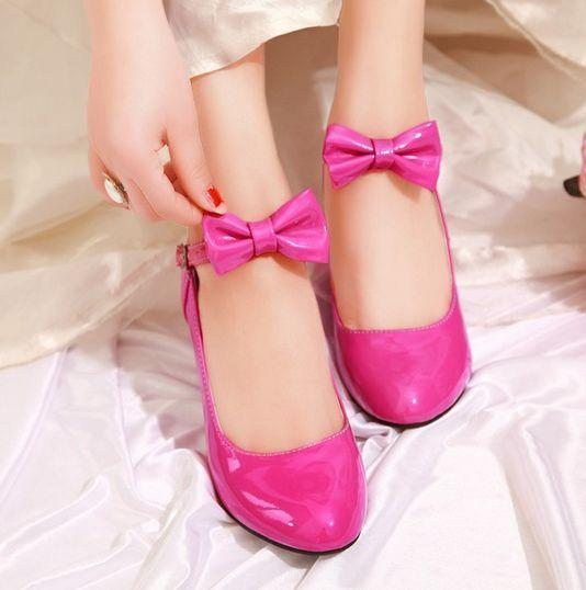 Womens Bowknot Cosplay Ankle Strappy Wedge Heart Heels Party Dress Leather Shoes