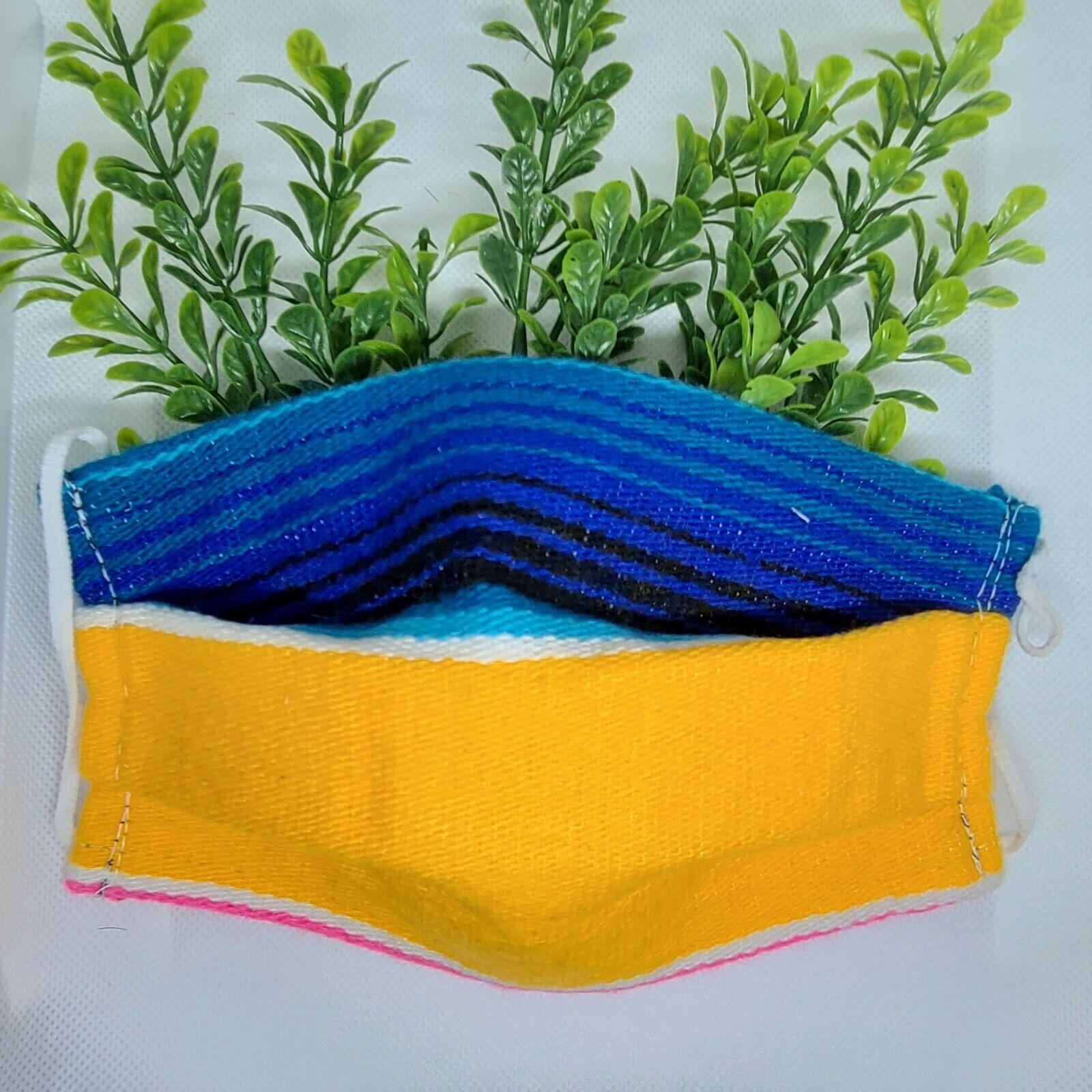 Woman Face Mask Yellow Blue Fabric Handmade Reusable