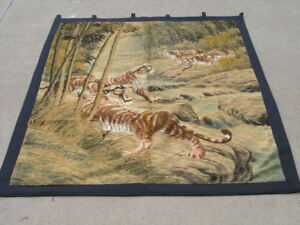 Image Is Loading Antique Anese Silk Embroidery Tapestry Wall Hanging Tigers