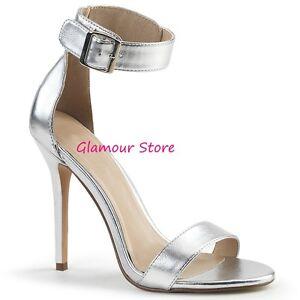 Sexy SANDALI tacco 13 dal 35 al 46 ARGENTO cinturino scarpe GLAMOUR fashion