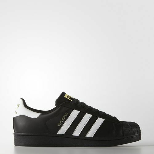 NEW MEN'S ADIDAS ORIGINALS SUPERSTAR SHOES  [B27140]  BLACK  WHITE-METALLIC gold