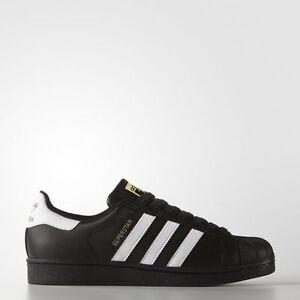uomini nuovi e originali adidas superstar scarpe [b27140 nero / bianco