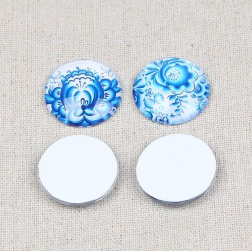 10 Flores De Cerámica Azul Hermoso Cristal Redondo Cabujones mixto artesanías de reverso plano