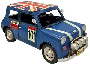 Vintage-Clasico-Britanico-Mini-Azul-Coche-Retro-Tin-Metal-29cm-longitud-Coleccionable