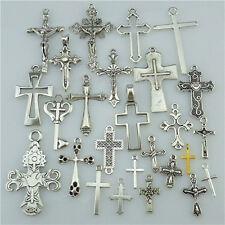 25PCS MIX Vintage Silver Alloy Faith Religious Cross Pendant Charms Fit Church