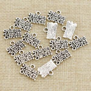 15pcs-Antique-Silver-Charm-Letter-Nurses-Call-The-Shots-Pendants-Bracelet-Making