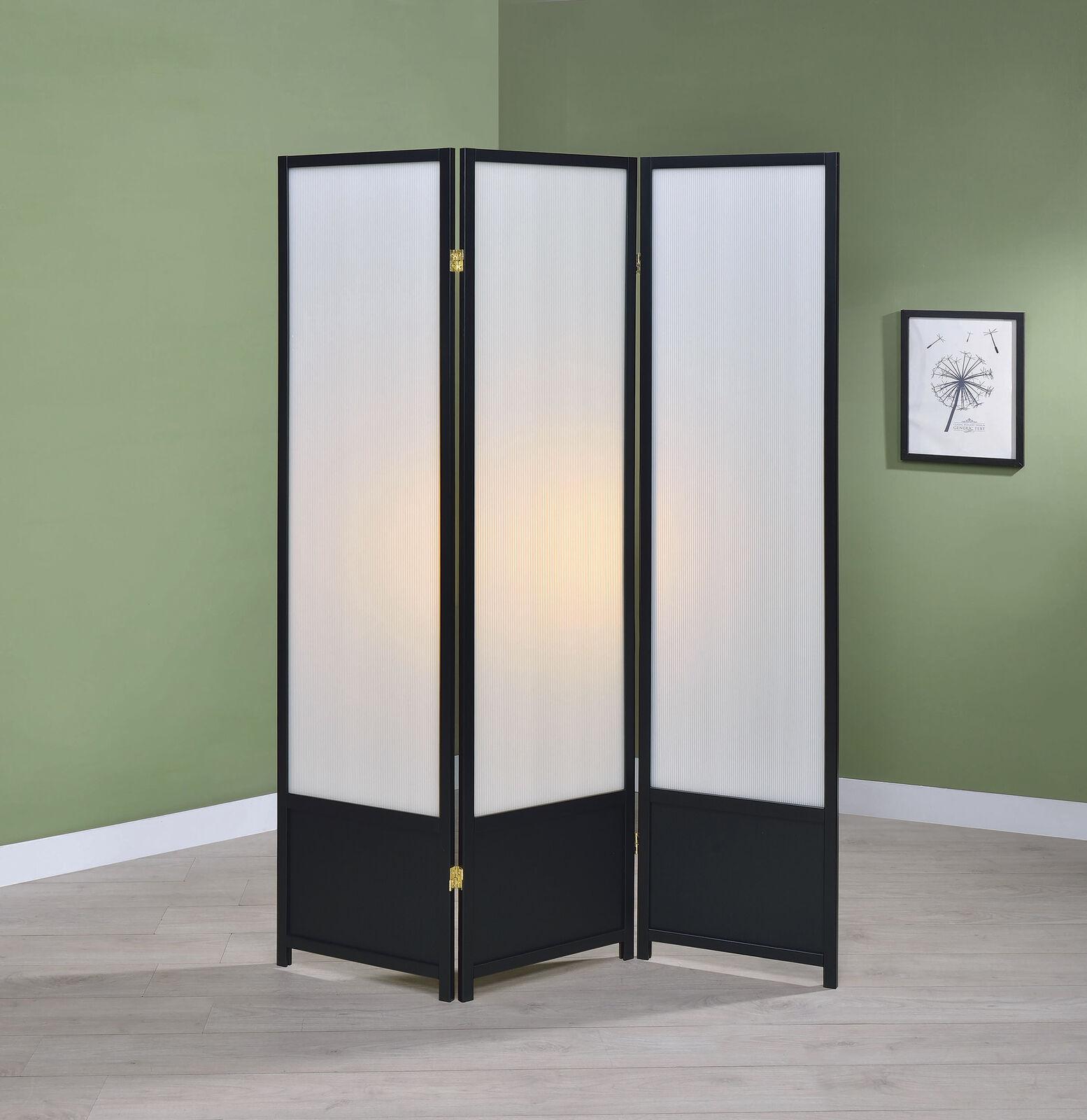 3 Panel Folding Screen Room Divider Solid Wood Black Walnut White 2 Way Hinges For Sale Online Ebay