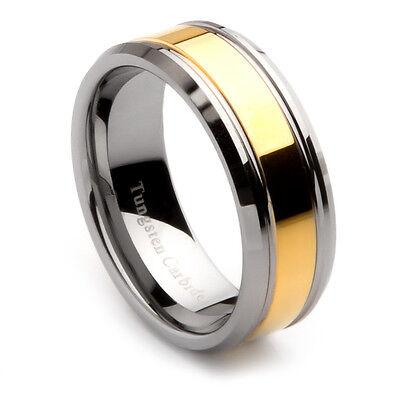 Mens Tungsten Carbide Gold Center Wedding Band, 8mm