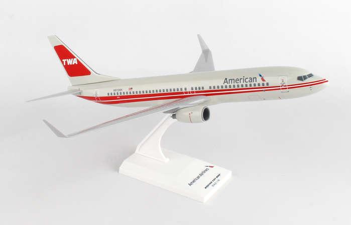 SKR897 SKYMARKS AMERICAN 737-800 1 130 TWA RETRO DISPLAY MODEL AIRPLANE