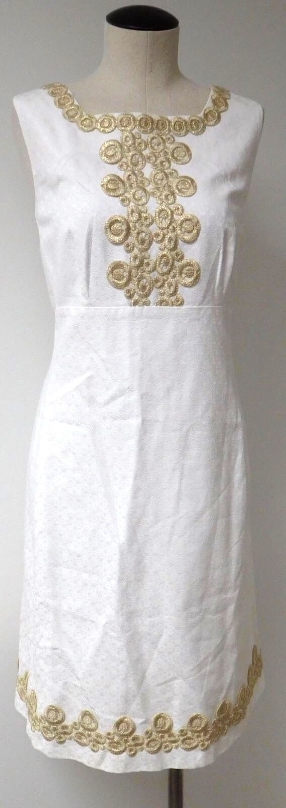 LILLY PULITZER ADELSON SHIFT DRESS CLASSIC WHITE JACQUARD COTTON W  gold TRIM 14