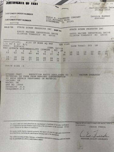 "Aircraft Quality 4130 Steel Round Bar Stock 1//4/"" Diameter x 12/"" Length"