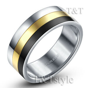 TT-Tri-Tone-Silver-Gold-Black-Stainless-Steel-Wedding-Band-Ring-R178