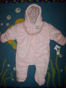 Calvin Klein Snowsuit Bunting Baby Infant Girl Sz 6 9 Mos