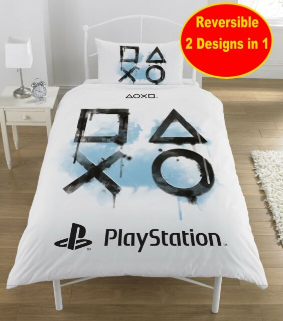 SONY PLAYSTATION SINGLE DUVET QUILT COVER SET BOYS KIDS FANS GAMER GAMING BED