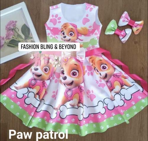 Paw Patrol Puppy Sky Skye Dress Vestido de Fiesta Party Birthday Theme Girls