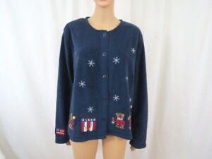 Croft-amp-Barrow-Sport-Women-Christmas-Cardigan-Sweater-Size-Large-Teddy-Bears