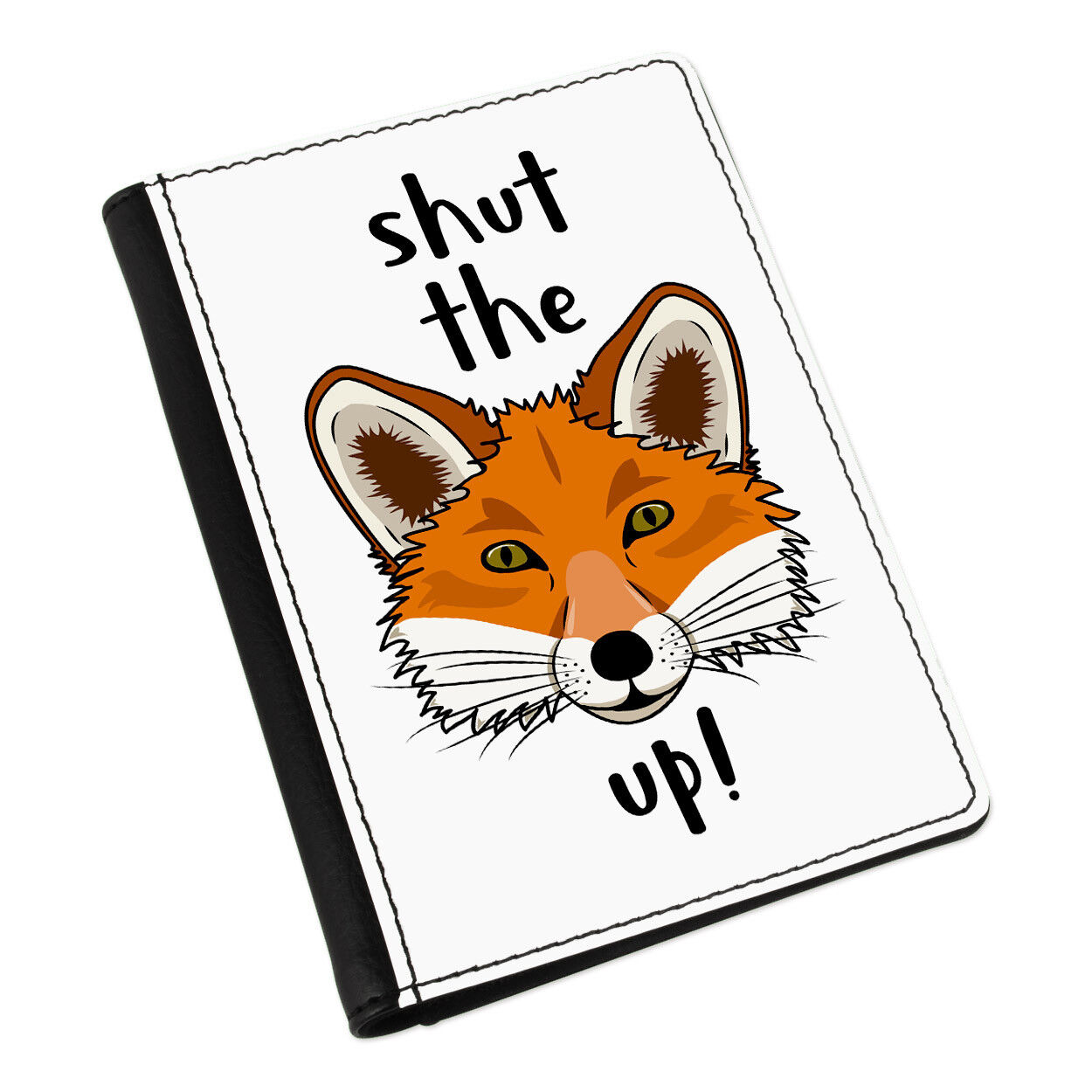 Shut the fox up Passport Holder Cover Animal Case Wallet-Funny Animal Cover Rude 23583b