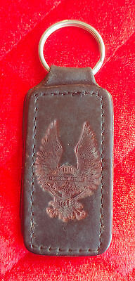 Vintage Leather Biker Keychain - eagle & skull Freedom Machine Motor Cycles