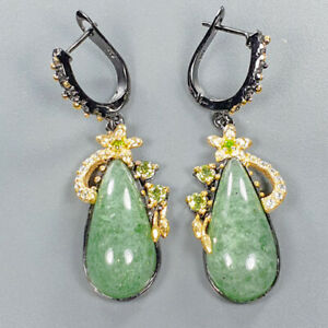 Aventurine-Earrings-Silver-925-Sterling-Unique-Jewelry-Design-E39220