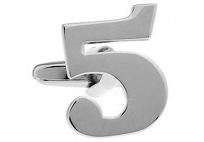 Number 5 Numeral Five Pair Cufflinks Wedding Fancy Gift Box /& Polishing Cloth