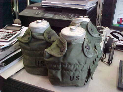 3 POLISH MILITARY CANTEEN WITH US  COVER   OLD  WATER BOTTLE POLAND MILITARY