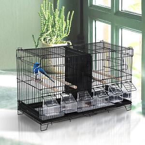 Flight-Bird-Cage-4-Doors-6-Food-Boxes-4-Perch-Pole-Metal-PP-Pine