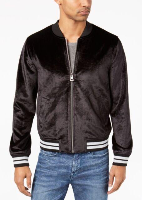 80e01f147 GUESS Mens Black Winter Velvet Warm Bomber Jacket Outerwear M BHFO 9578