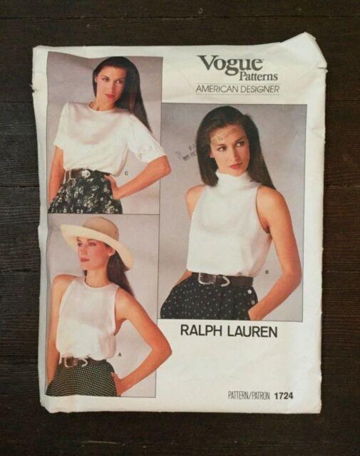 e8fe2bffb3e461 Vogue 1724 Misses Top American Designer Ralph Lauren Vintage 80s Size 8  Uncut